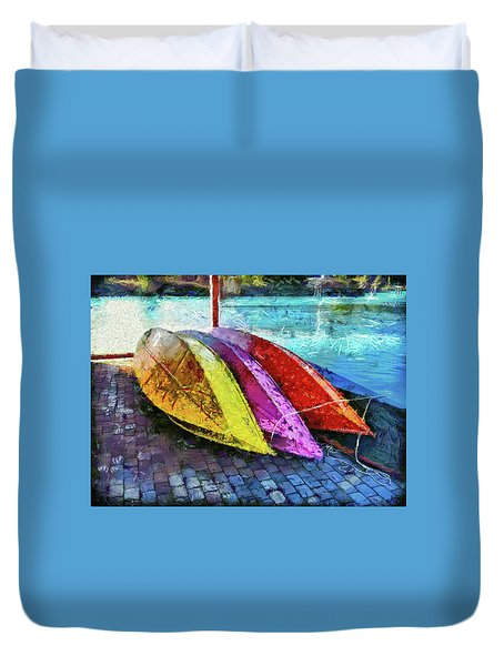 Duvet Cover featuring the photograph Daisy And The Rowboats by Thom Zehrfeld