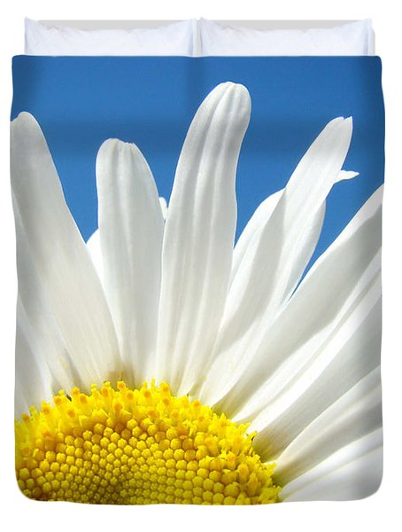 Daisy Art Prints White Daisies Flowers Blue Sky Duvet Cover by Baslee Troutman