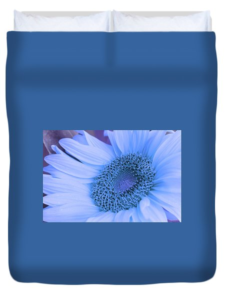Duvet Cover featuring the photograph Daisy Blue by Marie Leslie