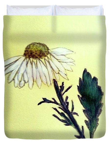 Duvet Cover featuring the painting Daisy Daisy by Margaret Welsh Willowsilk
