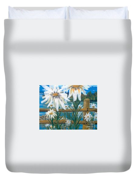 Duvet Cover featuring the painting Daisy Dance by Saundra Johnson