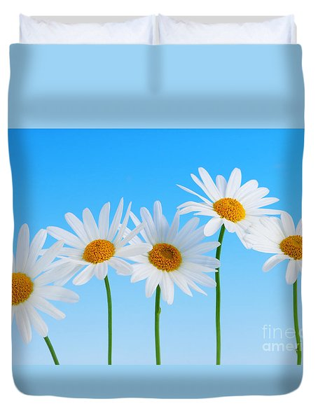 Daisy Flowers On Blue Duvet Cover