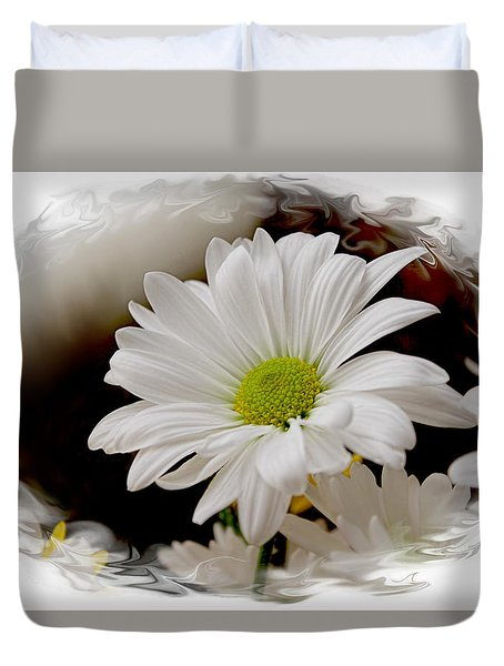 Duvet Cover featuring the photograph Daisy Frame Up by Bonnie Willis
