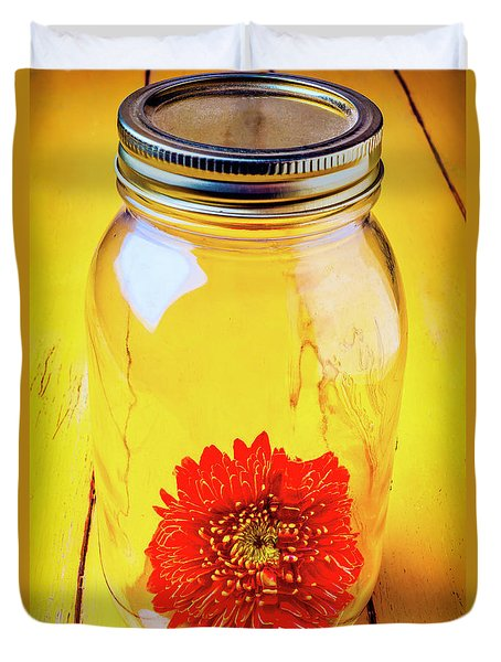Daisy In Glass Jar Duvet Cover by Garry Gay