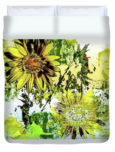 Sunflower On Water Duvet Cover by Deborah Nakano