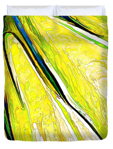 Daisy Petal Abstract In Lemon-lime Duvet Cover by ABeautifulSky Photography