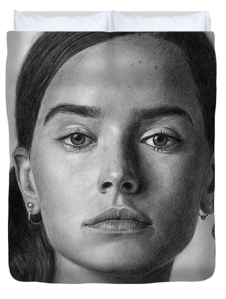 Daisy Ridley Pencil Drawing Portrait Duvet Cover