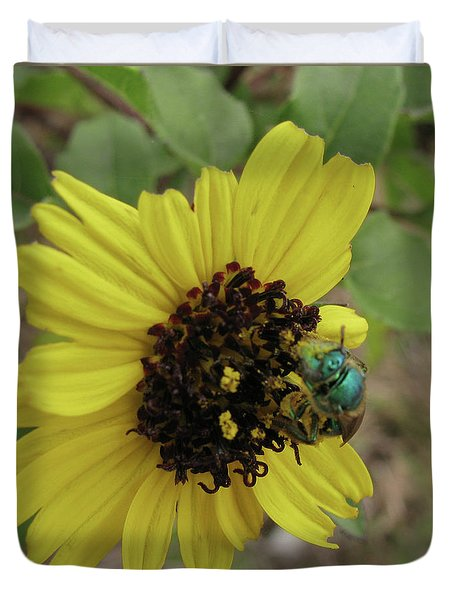 Daisy With Blue Bee Duvet Cover
