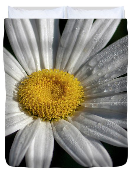 Duvet Cover featuring the photograph Daisy With Dew Drops by Michelle Joseph-Long