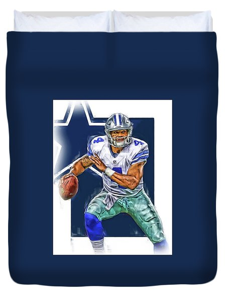 Dak Prescott Dallas Cowboys Oil Art Duvet Cover by Joe Hamilton
