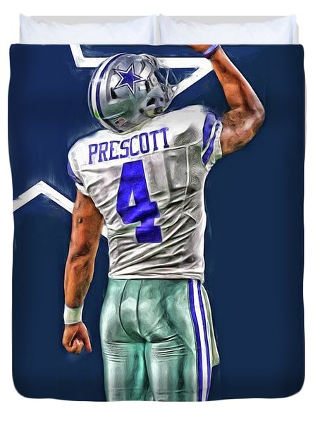 Dak Prescott Dallas Cowboys Oil Art Series 2 Duvet Cover