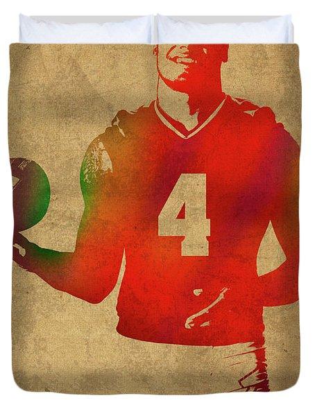 Dak Prescott Nfl Dallas Cowboys Quarterback Watercolor Portrait Duvet Cover