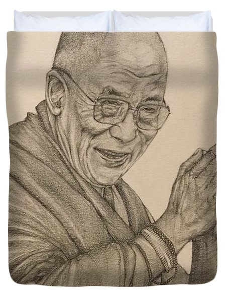 Dalai Lama Tenzin Gyatso Duvet Cover by Kent Chua