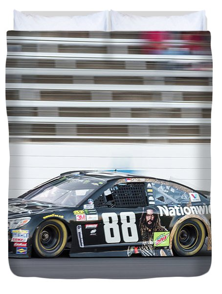 Dale Earnhardt Jr Running Hard At Texas Motor Speedway Duvet Cover