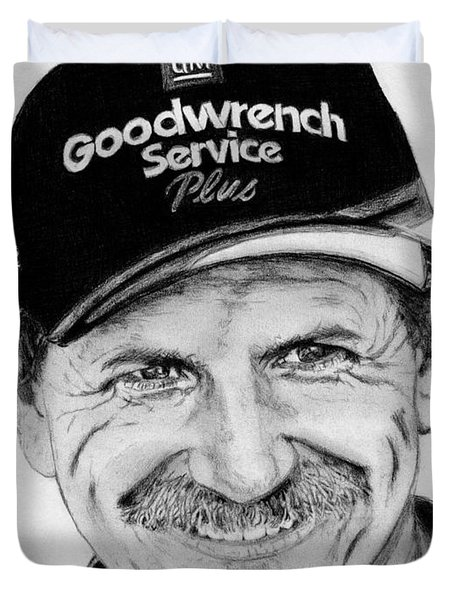 Duvet Cover featuring the drawing Dale Earnhardt Sr In 2001 by J McCombie