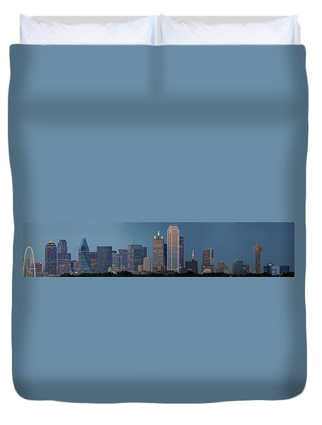 Duvet Cover featuring the photograph Dallas At Night by Jonathan Davison