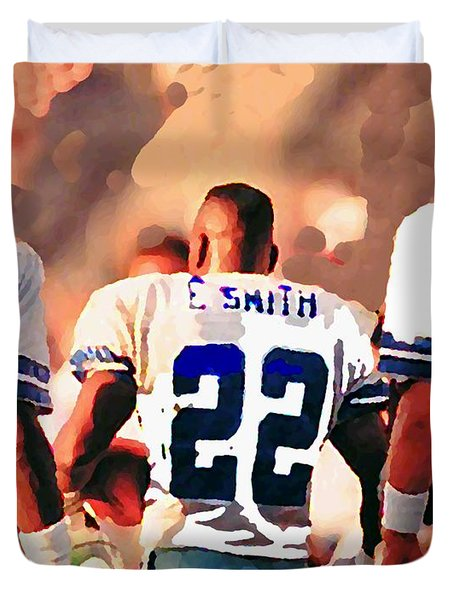 Dallas Cowboys Triplets Duvet Cover by Paul Van Scott
