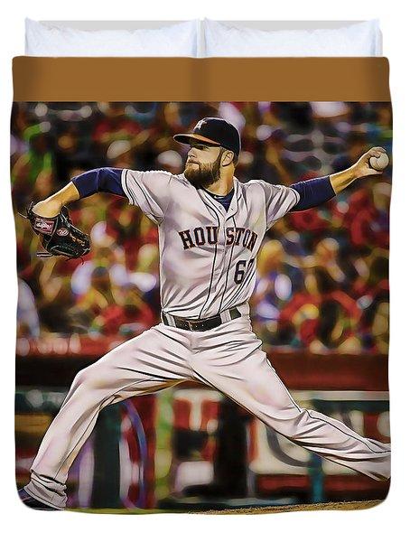 Dallas Keuchel Baseball Duvet Cover by Marvin Blaine