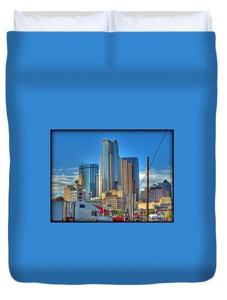 Dallas Morning Skyline Duvet Cover