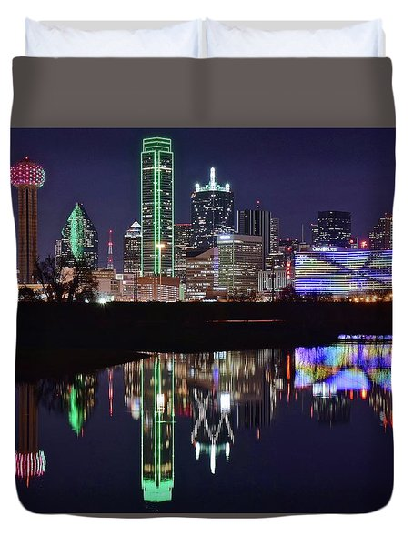 Dallas Reflecting At Night Duvet Cover by Frozen in Time Fine Art Photography