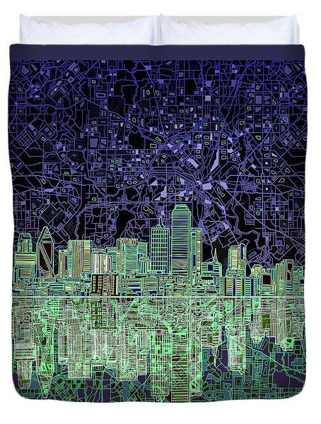 Dallas Skyline Abstract 4 Duvet Cover