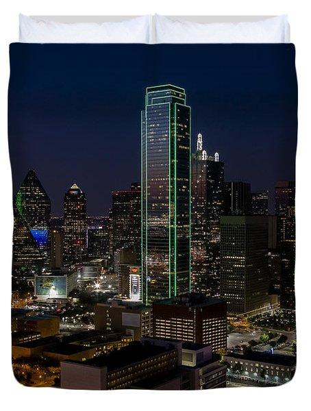 Dallas Skyline Evening Glow Duvet Cover