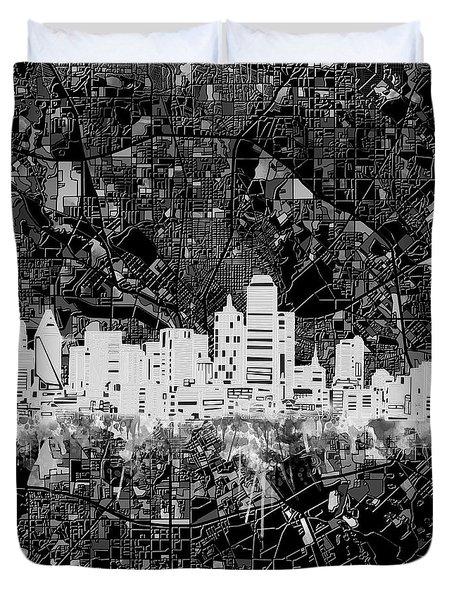 Dallas Skyline Map Black And White 5 Duvet Cover