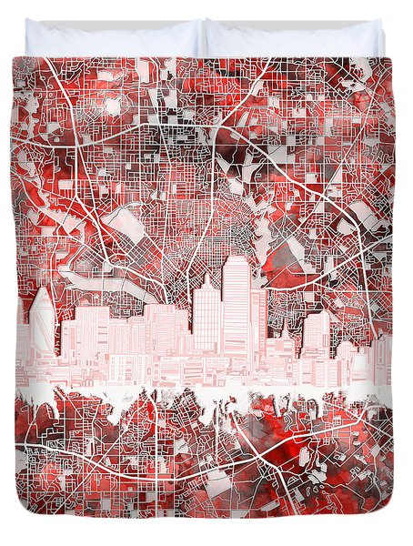Dallas Skyline Map Red 2 Duvet Cover