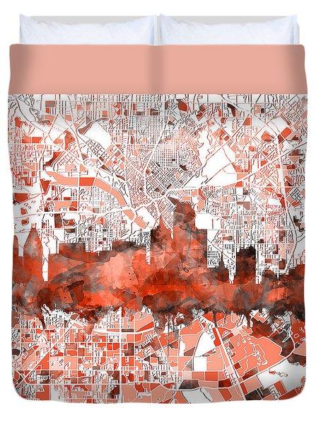 Dallas Skyline Map Red Duvet Cover
