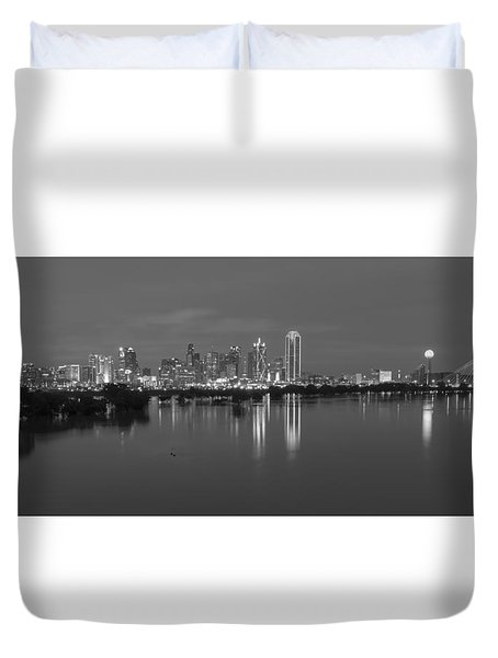 Dallas Skyline Trinity Black And White Duvet Cover