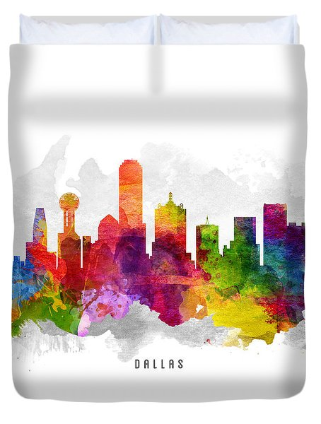 Dallas Texas Cityscape 13 Duvet Cover by Aged Pixel