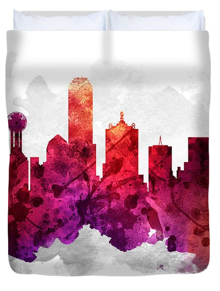 Dallas Texas Cityscape 14 Duvet Cover by Aged Pixel