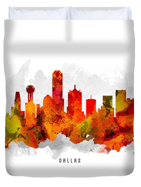 Dallas Texas Cityscape 15 Duvet Cover by Aged Pixel