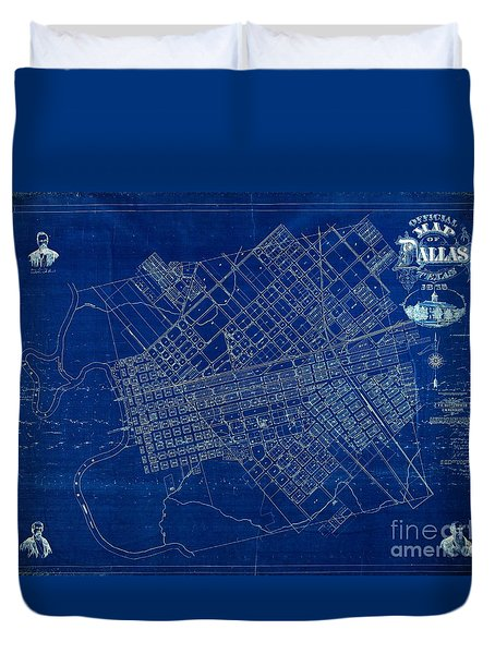 Dallas Texas Official 1875 City Map Blueprint Butterfield And Rundlett Duvet Cover