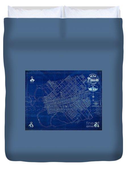 Dallas Texas Official 1875 City Map Blueprint Butterfield And Rundlett Duvet Cover