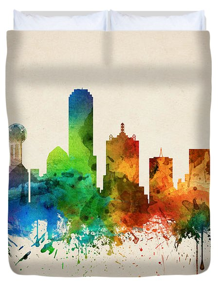 Dallas Texas Skyline 05 Duvet Cover by Aged Pixel