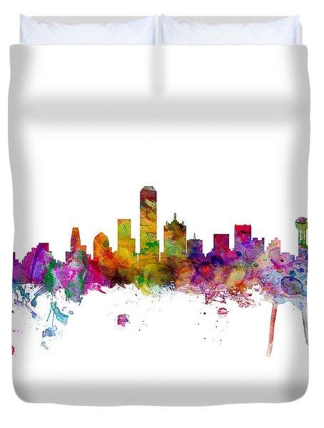 Dallas Texas Skyline Panoramic Duvet Cover