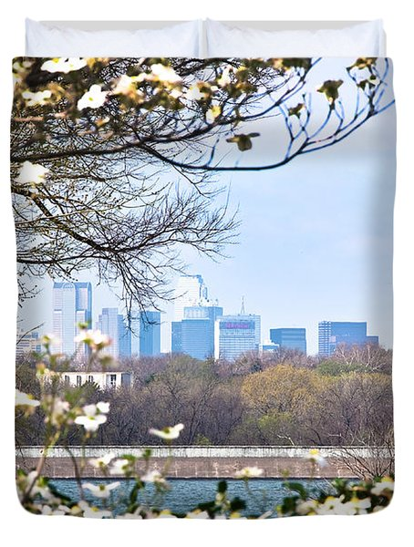Dallas Through The Dogwood Flowers Duvet Cover by Tamyra Ayles