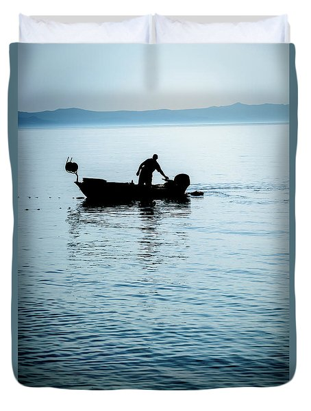 Dalmatian Coast Fisherman Silhouette, Croatia Duvet Cover