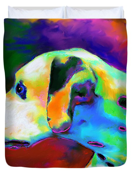 Dalmatian Dog Portrait Duvet Cover