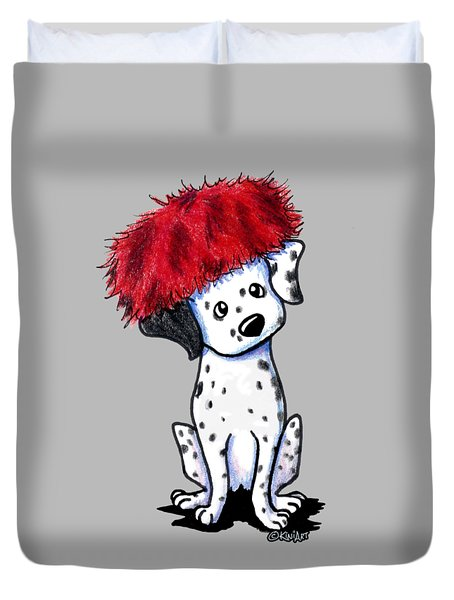 Dalmatian In Red Duvet Cover
