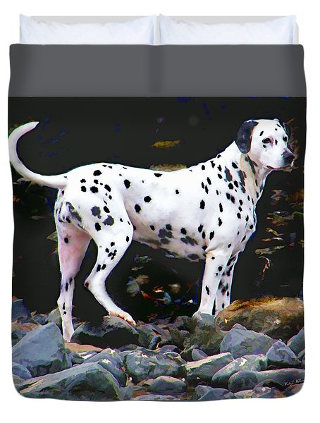 Dalmatian On The Rocks Duvet Cover by Wendy McKennon