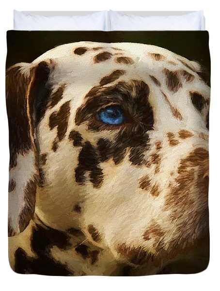 Duvet Cover featuring the painting Dalmatian - Painting by Ericamaxine Price