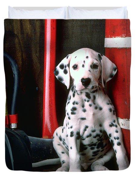 Dalmatian Puppy With Fireman's Helmet  Duvet Cover