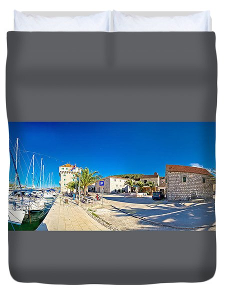 Dalmatian Village Of Marina Waterfront Panorama Duvet Cover by Brch Photography