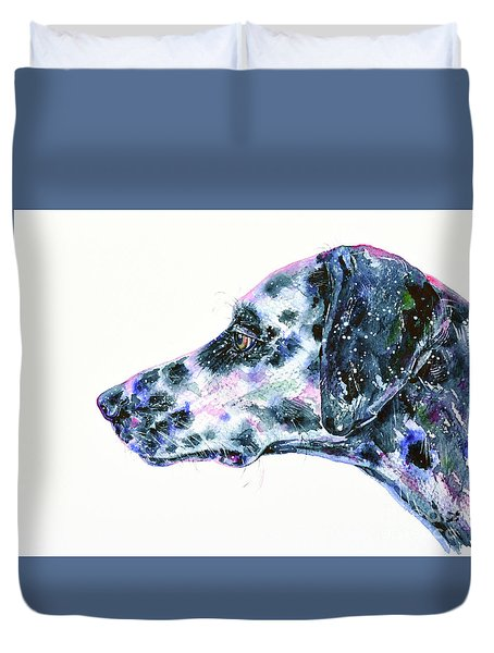 Duvet Cover featuring the painting Dalmatian by Zaira Dzhaubaeva