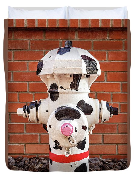 Duvet Cover featuring the photograph Dalmation Hydrant by James Eddy