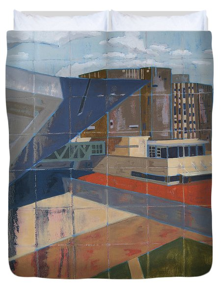 Duvet Cover featuring the painting Dam Museum by Erin Fickert-Rowland