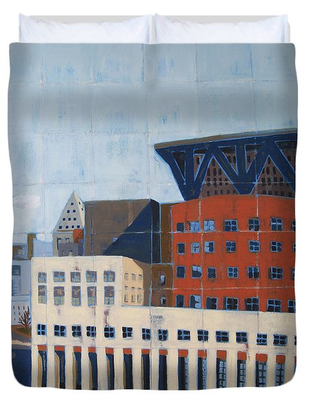 Duvet Cover featuring the painting Dam Public Library by Erin Fickert-Rowland