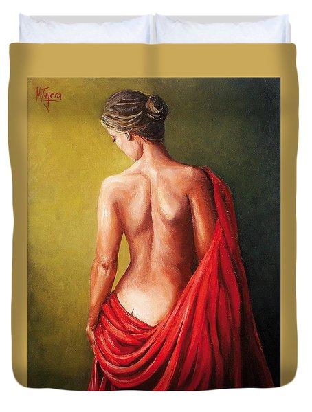 Dama De Rojo Duvet Cover